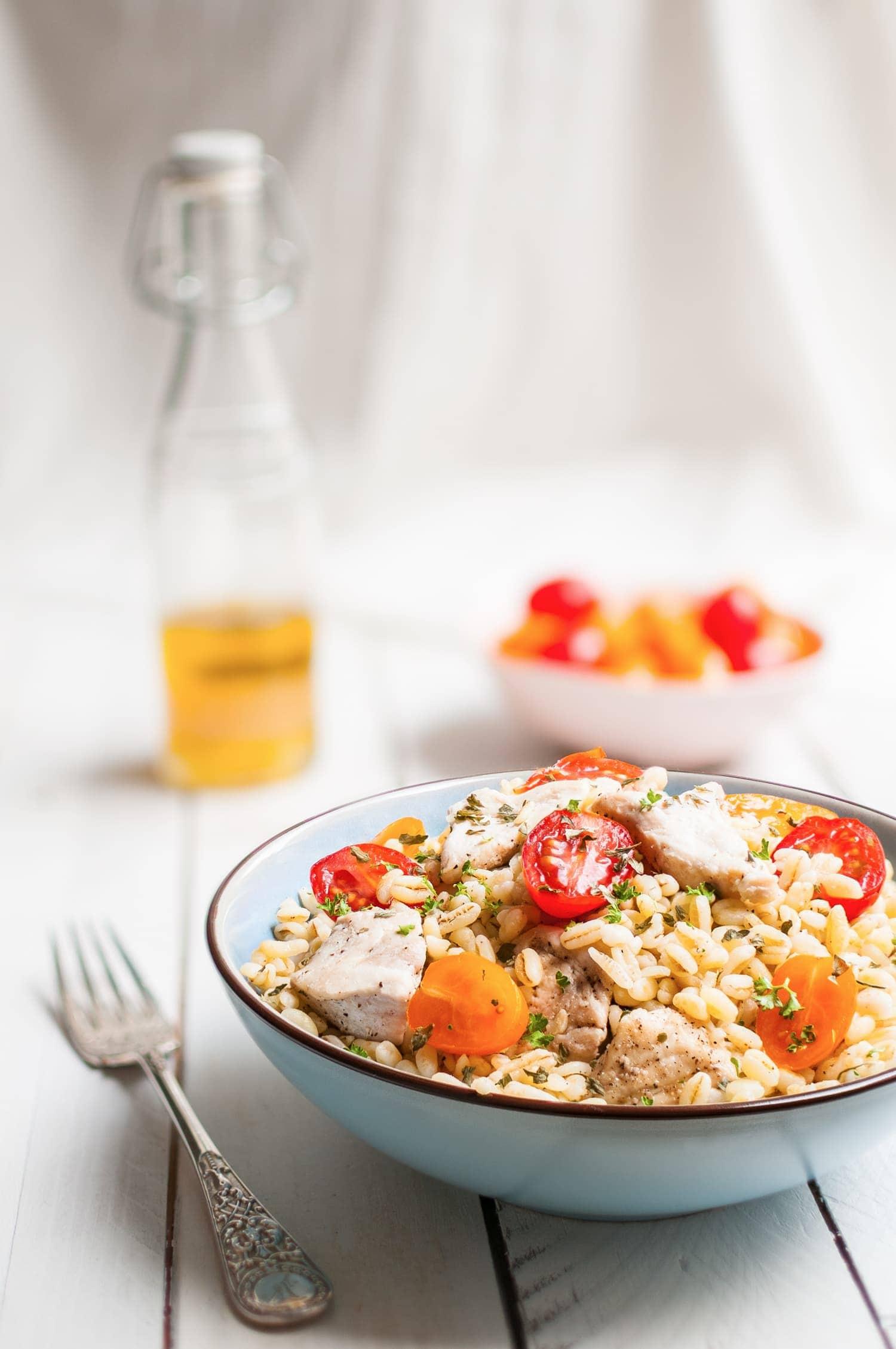Salade de blé au poulet, vinaigrette miel citron | quatresous.fr