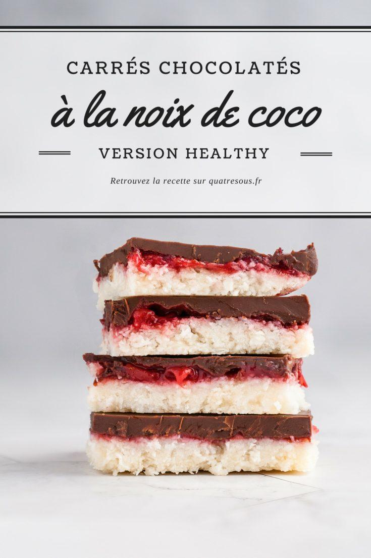 Carrés chocolatés fraise et noix de coco | quatresous.fr